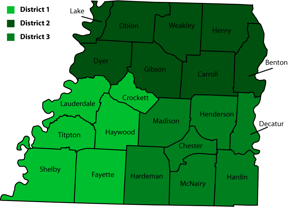 West Tennessee Districts and Counties Map